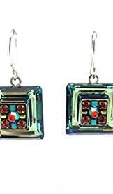 Firefly La Dolce Vita Silver Plated Green Aqua Square Swarovski Earrings