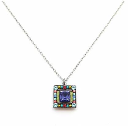 Firefly Luxe Square Mosaic Swarovski & Czech Glass Pendant Necklace