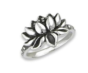 Flower Lotus Ring Sterling Silver