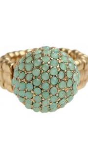 Gold Green Ball Stretch Ring