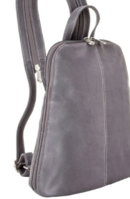 Leather U-Zip Women's Sling/Back Pack Silver