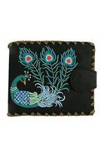 Lovely Peacock Embroidered Black Wallet
