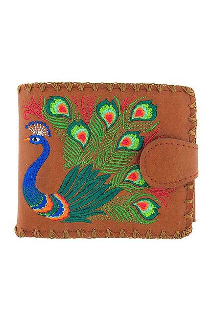Lovely Peacock Embroidered Brown Wallet