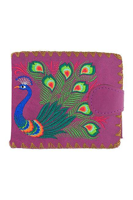 Lovely Peacock Embroidered Purple Wallet