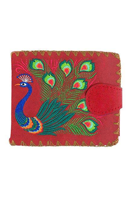 Lovely Peacock Embroidered Red Wallet