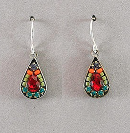 Firefly Mosaic Tear Drop Earrings Multicolor