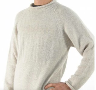Oatmeal Alpaca Knit Roll Neck Sweater