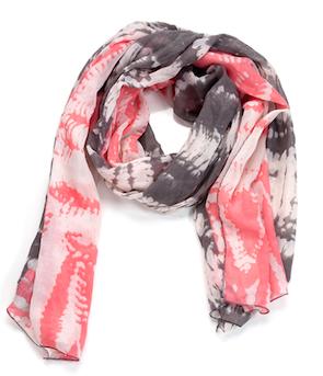 Two Toned Tye-Dye Oblong Scarf Gray & Pink