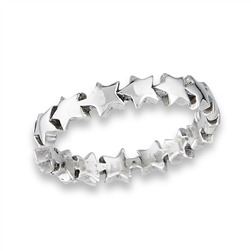 Sterling Silver Chain of Heavy Stars Ring