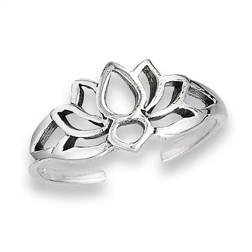 Sterling Silver Lotus Silhouette Toe Ring