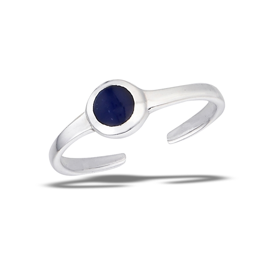 Sterling Silver Toe Ring With Synthetic Sodalite