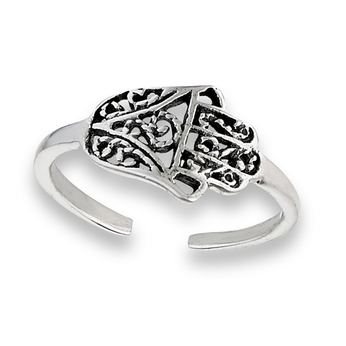 Sterling Silver Hand Of Fatima Toe Ring