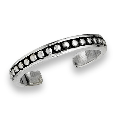 Sterling Silver Oxidized Dot Toe Ring