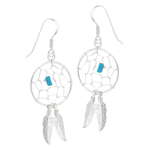 Sterling Silver Dream Catcher Earring With Synthetic Turquoise
