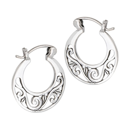 Sterling Silver Filigree Hoop Earring