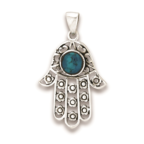 Sterling Silver Hamsa Pendant With Synthetic Chrysocolla
