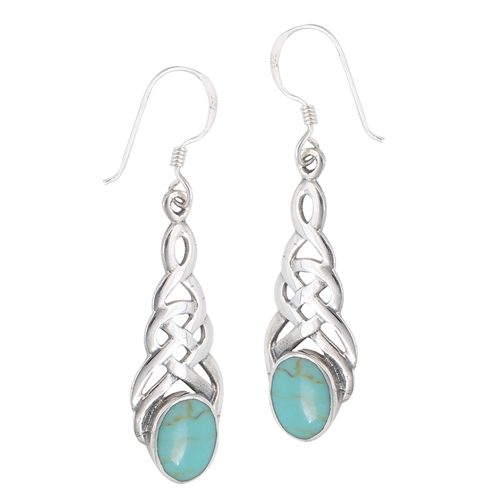 Sterling Silver Celtic Earring with Synthetic Turquoise