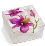 CAPIZ BOX PURPLE ORCHIDS