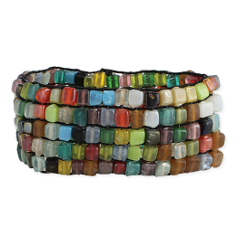 Multi Colored Square Bead Mosaic Bracelet