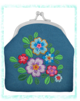 Coin Purse With Embroidery  Blue Flower