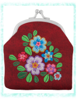 Coin Purse With Embroidery Red Flower