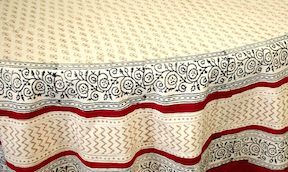 "Table Cloth  Bagru Buti 72"" Round"