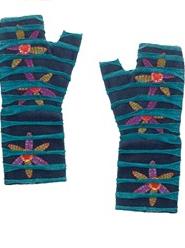Camo Flowers Fleece and Cotton Fingerless Gloves