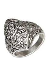 STERLING SILVER MARQUISE SHAPE FILIGREE FLOWERS RING