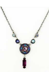 Circle Necklace With Amethyst Purple Swarovski Crystals Handcrafted in Guatemala