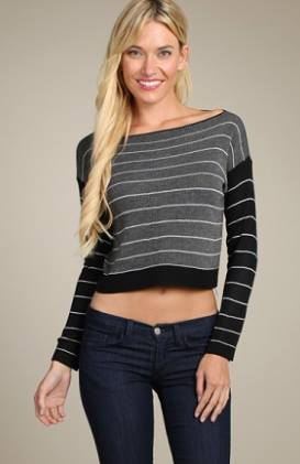 Striped Crop Black Top
