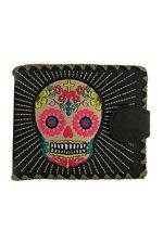 Sugar Skull  Black Medium Wallet With Embroidery
