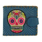 Sugar Skull  Blue Medium Wallet With Embroidery
