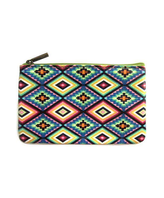 Valentina Mexican Print Faux Leather Pouch