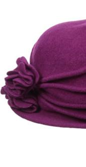 Women's Knit Wool Cloche Hat with Double Flower