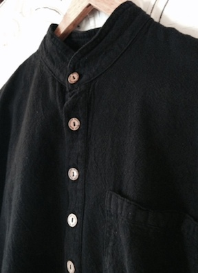 Mandarin Collar Shirt in Black
