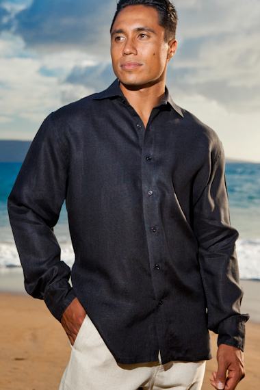 Black Linen Amalfi Shirt