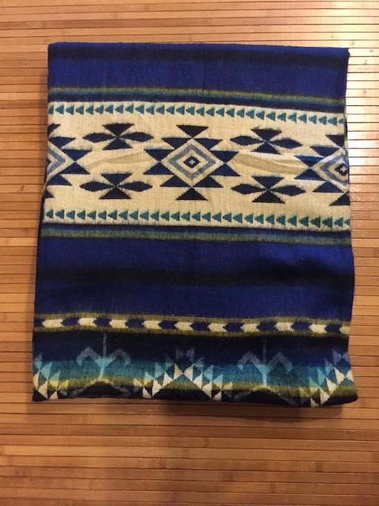 Aztec Printed Blanket Blue