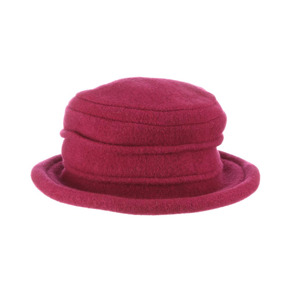 Collezione Women's Boiled 100% Wool Cloche Hat Fuschia