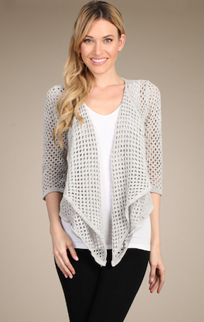 M-Rena Draped Open Front Pointelle Cardigan