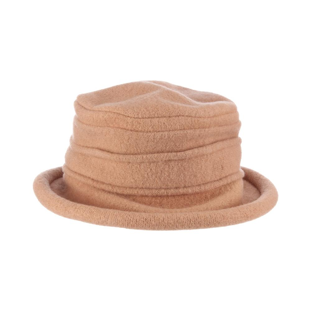 Collezione Women's Boiled 100% Wool Cloche Hat Camel