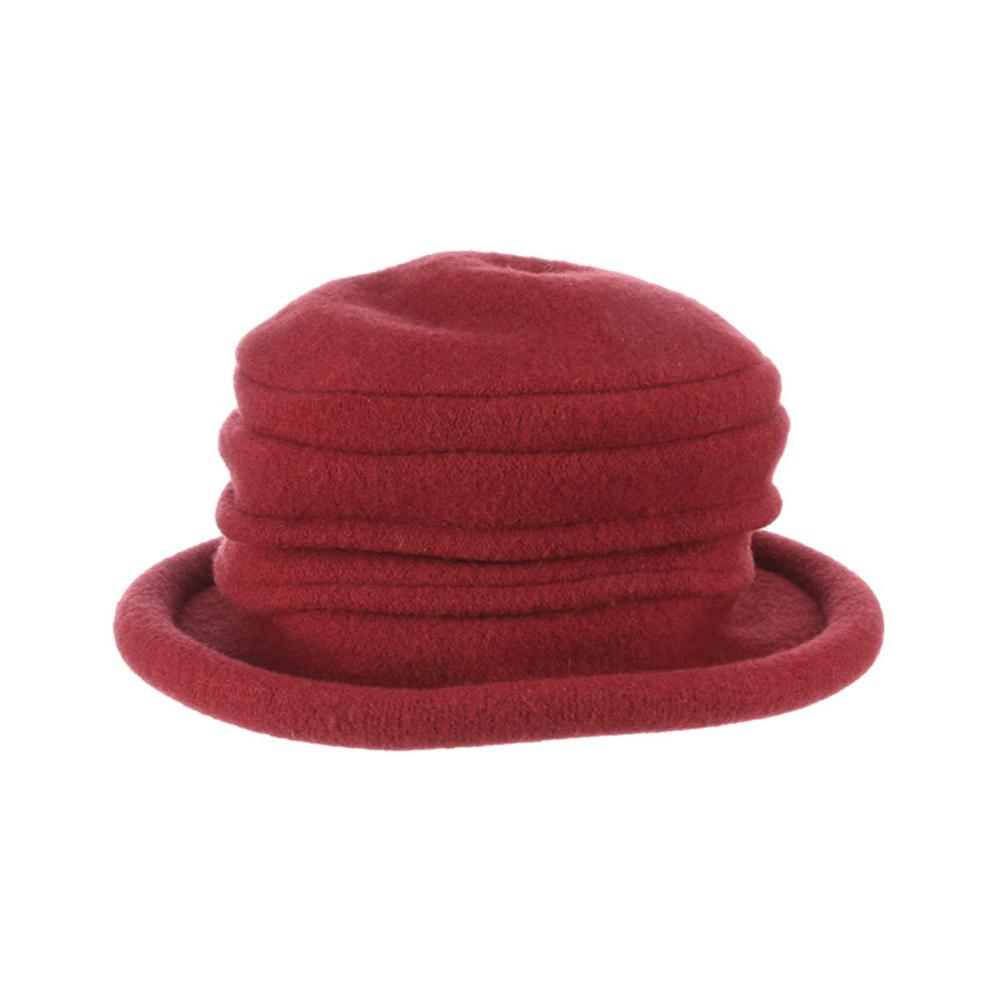 Collezione Women's Boiled 100% Wool Cloche Hat Wine