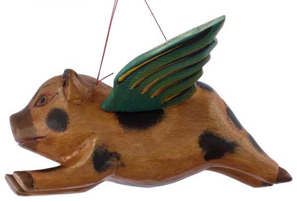 Flying Wood Pig 8""