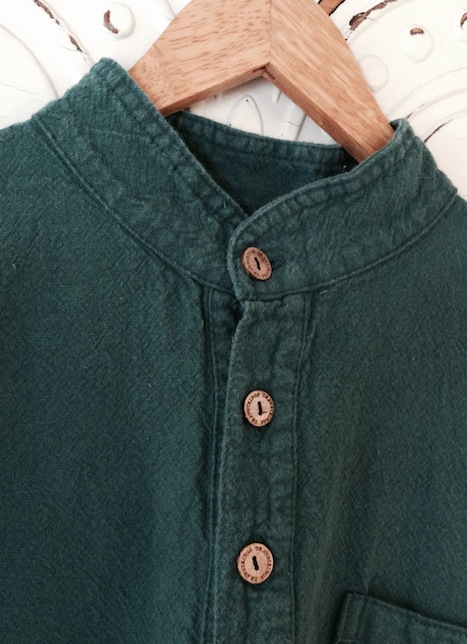 Mandarin Collar Shirt Dark Green