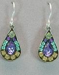 Firefly Mosaic Tear Drop Earrings Lavender