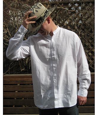 Light Weight Open Front Wedding Shirt  White
