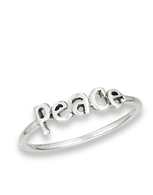Sterling silver lower Case Font Peace Ring