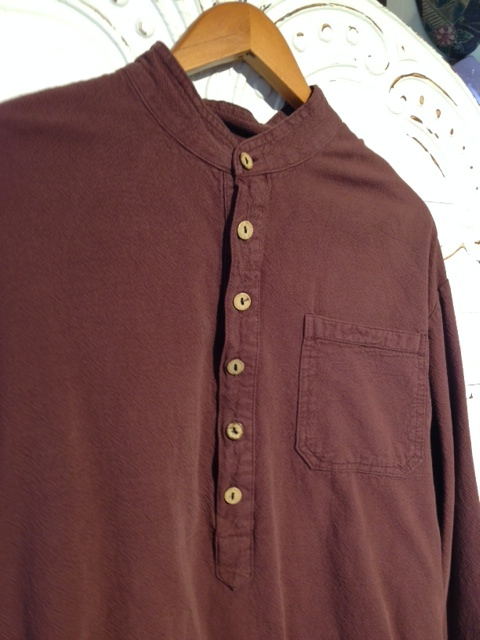 Mandarin Collar Shirt in Prune
