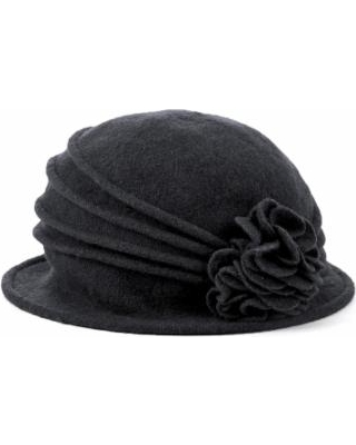 Women's Knit Wool Cloche Hat with Double Flower Black