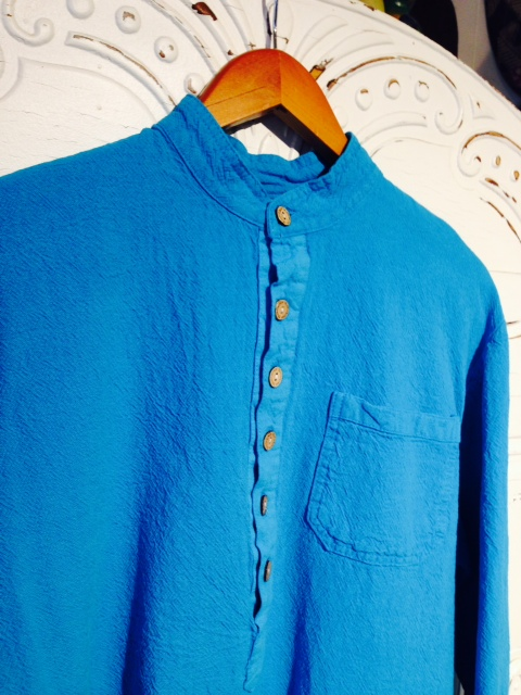 Mandarin Collar Shirt in Turqouise